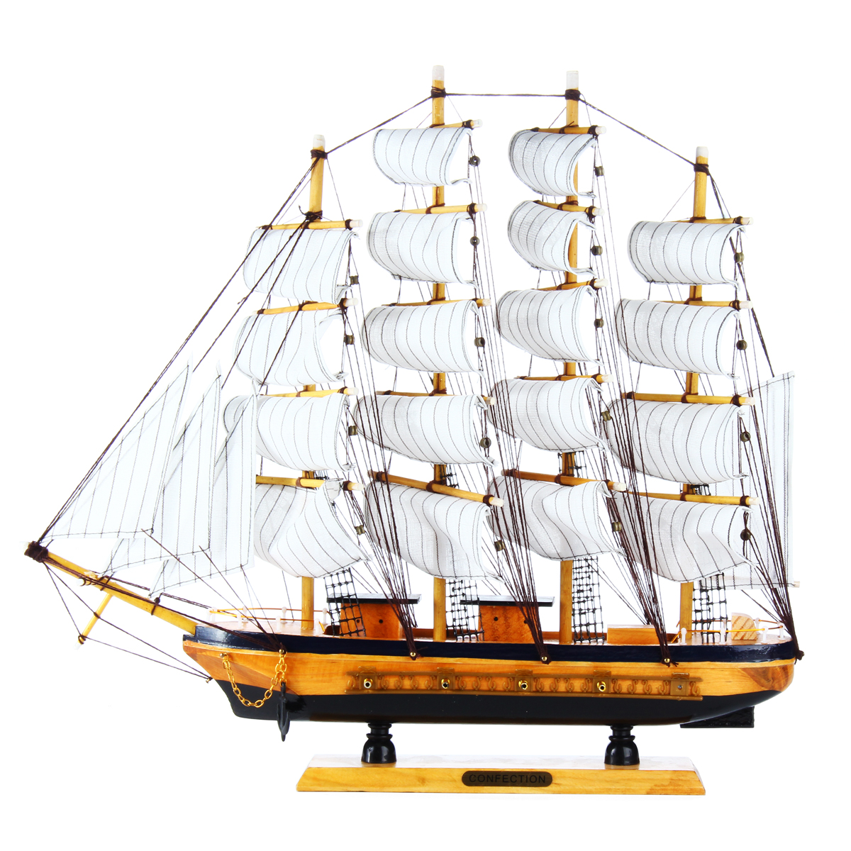 "20x3.5x17"" Wooden Sailing Boat Wood Sailboat Home Decor Toy Decoration Mediterranean Assembly Model Kits Home Decor Craft Dislpay Gift"