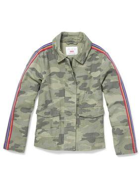 The Children's Place Side Stripe Camo Print Anorak Jacket (Big Girls)