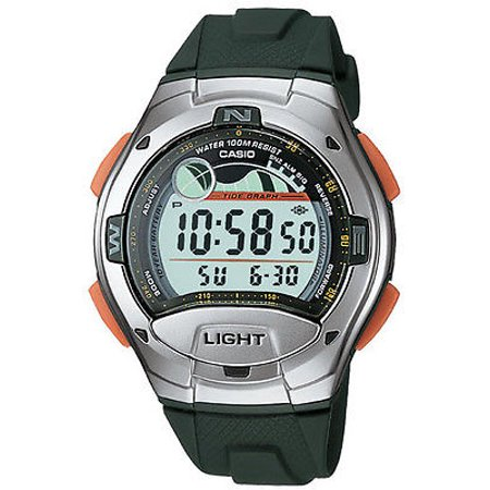 Casio W753-3A Men's Green Tide Graph Moon Phase Countdown Timer Sports Watch Chronograph Moon Phase Watch