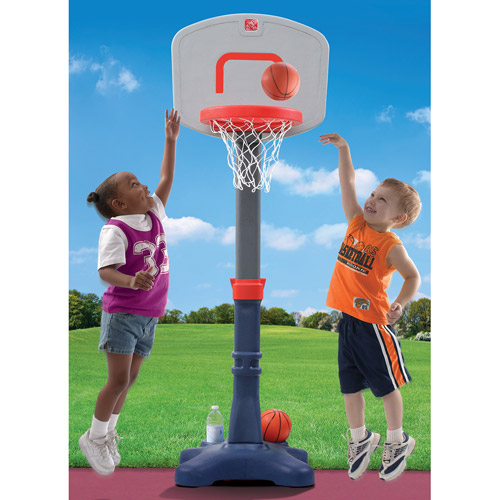 "Step2 Shootin' Hoops Jr. Basketball Set with Center pole fixture adjusts rim height from 30"" to 48"
