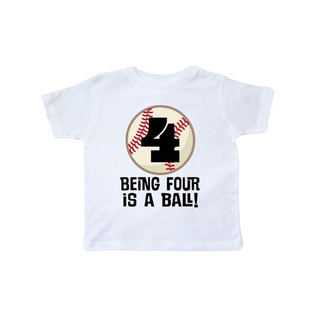 4th Birthday Baseball Boys 4 Year Old Toddler T Shirt