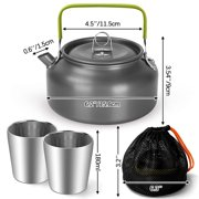 1.2L Camping Kettle Set Portable Camping Tea Pot with 2 Cups Coffee Maker Suit for Outdoor Hiking Backpacking Picnic