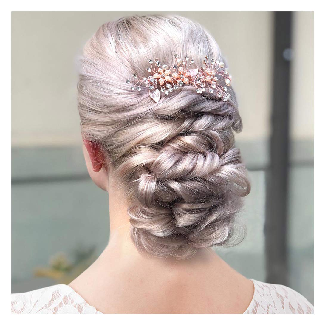 Sweetv Rose Gold Bridal Hair Comb Clip Rhinestone Headpieces Wedding Hair Accessories For Women Girl Bride Walmart Com Walmart Com