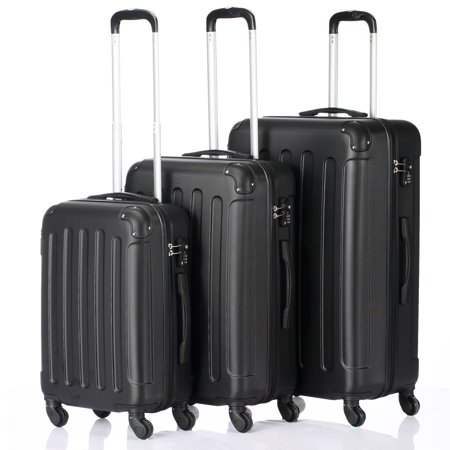 """Zimtown Suitcase Set 3-in-1 Portable ABS Trolley Case 20"""" / 24"""" / 28"""" Black"""