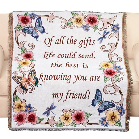 Tapestry Throw Blanket with Fringe Border, My Friend, Floral with Butterflies, 50