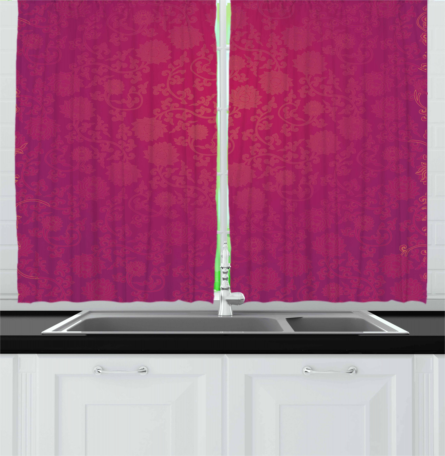 Chinese New Year Curtains 2 Panels Set Ornamental Lotus Flower Pattern Blooming East Asian Foliage Window Drapes For Living Room Bedroom 55w X 39l Inches Orange Violet And Pink By Ambesonne
