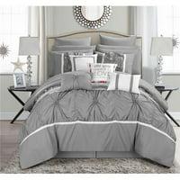 Ashville Queen Size Comforter Set, Grey - 16 Piece