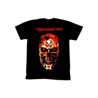 Terminator 1984 SciFi Action Movie Red Cyborg Skeletal Face Black Adult Tee 5X