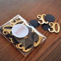 30th Birthday Decor. Number and Circle Confetti in Glitter Gold and Black 50ct.