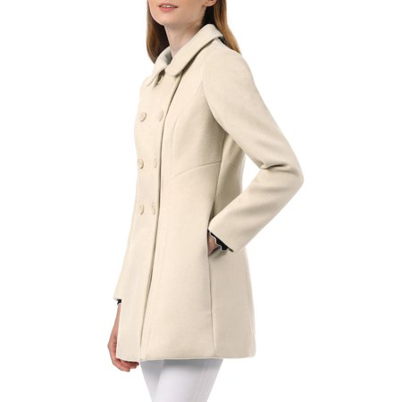 Unique Bargains Women's Peter Pan Collar Double Breasted Winter Trench Coat