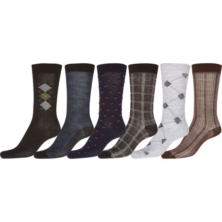 Mens Pattern Dress Socks Value Assorted 6-Pack - Combo - 10-13