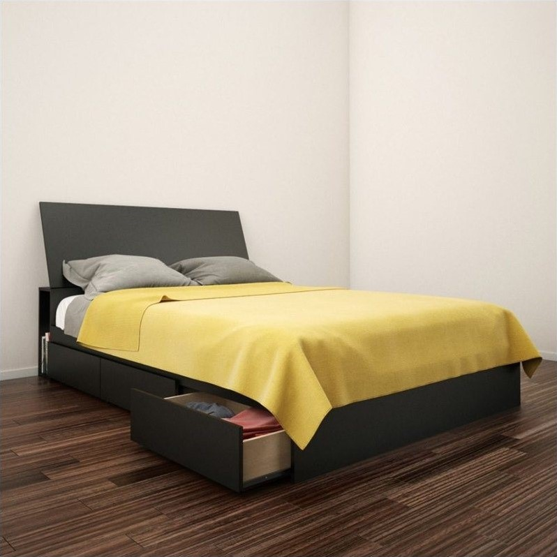 Nexera Avenue Full Storage Bed with Headboard in Black
