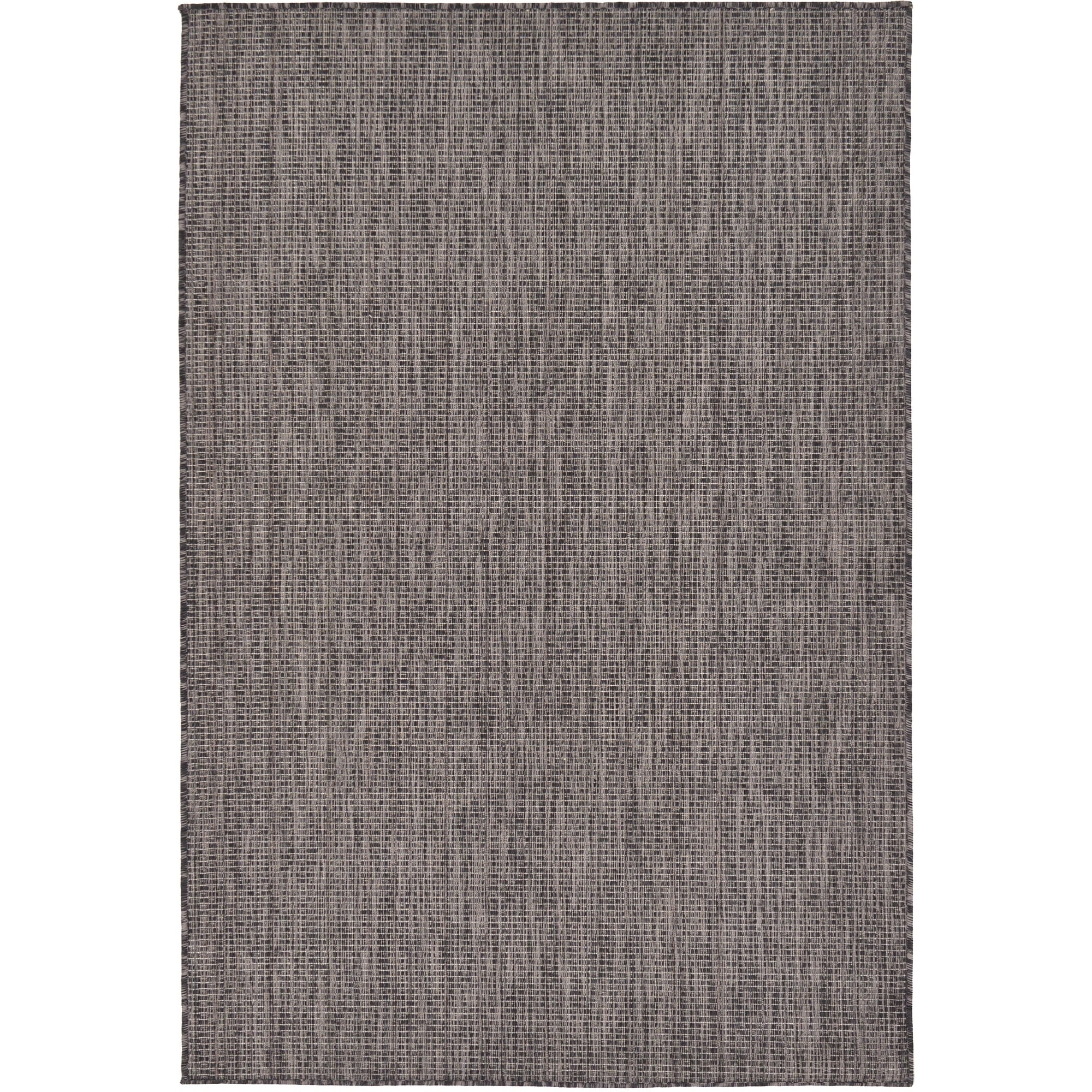 UNIQUE LOOM Black Polypropylene Outdoor Solid Rug (4' x 6')
