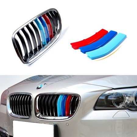 iJDMTOY Exact Fit ///M-Colored Grille Insert Trims For BMW F10 F11 5 Series 528i 535i 550i with Standard Center Chrome Kidney Grill (10 Beams), Not For 12-Beam Black Grille (Bmw 3 Series Grill)