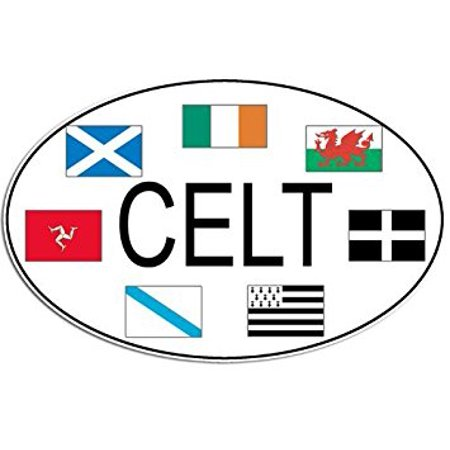 Oval CELT w/ Celtic Flags Sticker Decal (ireland irish decal) Size: 3 x 5 inch (Celtic Window Sticker)