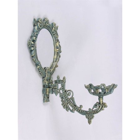 Angel Motif Cast Iron Wall Sconce Candle Holder w Mirror Wall Sconce Iron Candle Holder