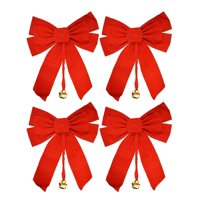 "Large 10"" x 15"" Red Velvet Christmas Bows with Metal Bell (Set of 4)"