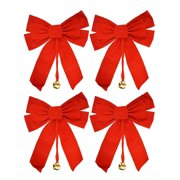 """Large 10"""" x 15"""" Red Velvet Christmas Bows with Metal Bell (Set of 4)"""