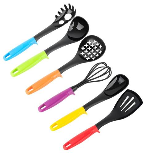 Zodaca 7-Piece Set Cooking Kitchen Utensil Gadget Tool Durable Accessories (includes Spaghetti server, Ladle, Solid spoon, Slotted spoon, Whisk, Slotted turner and Rotating carousel stand)