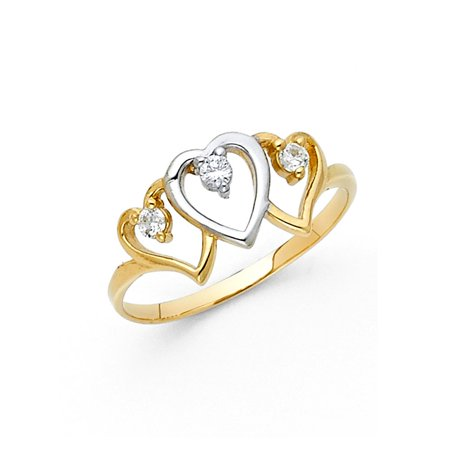 14k Two Tone Italian Solid Gold 10mm Martini Set Round Cubic Zirconia Triple Heart Shape Band CZ Ring Size 8.5 Available All Sizes