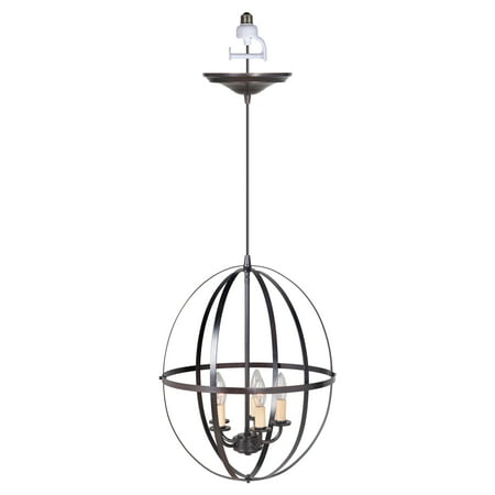Instant Pendant Recessed 5-Light Chandelier Conversion Kit Brushed Bronze with Cage Shade