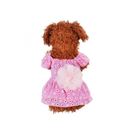 - Lavaport Pet Dog Dot Printed Dress Lace Flower Princess Skirt