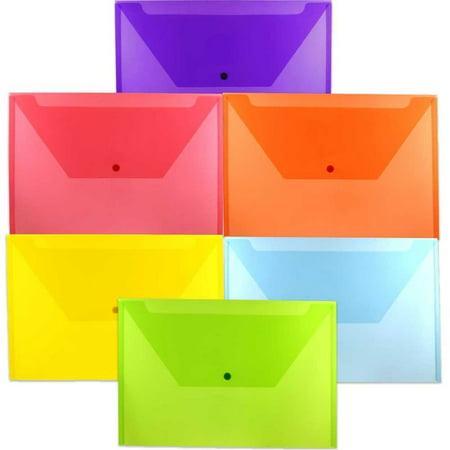 JAM Paper Plastic Envelope with Snap Closure, Legal Booklet, 9 3/4 x 14 1/2, Assorted Colors, 6 Color Envelopes