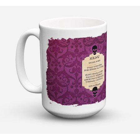 Goulish Menu including Eye Screen Snake soup Halloween Coffee Mug 15 oz - Halloween Party Menu Easy