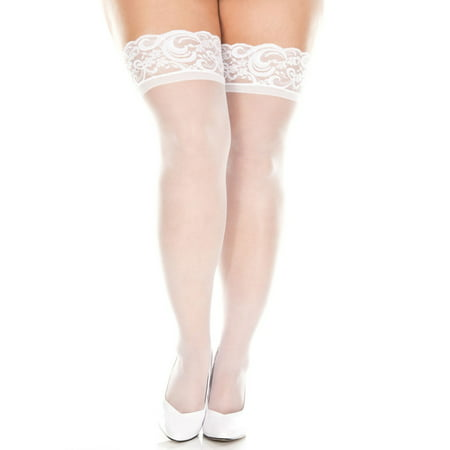 Lacy Line Plus Size Sheer Lace Top Thigh High Stockings](Stockings Teen)