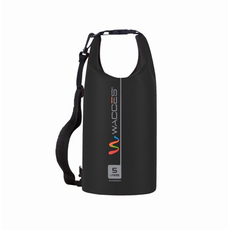 Heavy Durable - Wacces Heavy Duty Durable Waterproof Dry Bag for Kayaking, Rafting, Boating, Swimming, Hiking 5L - Black