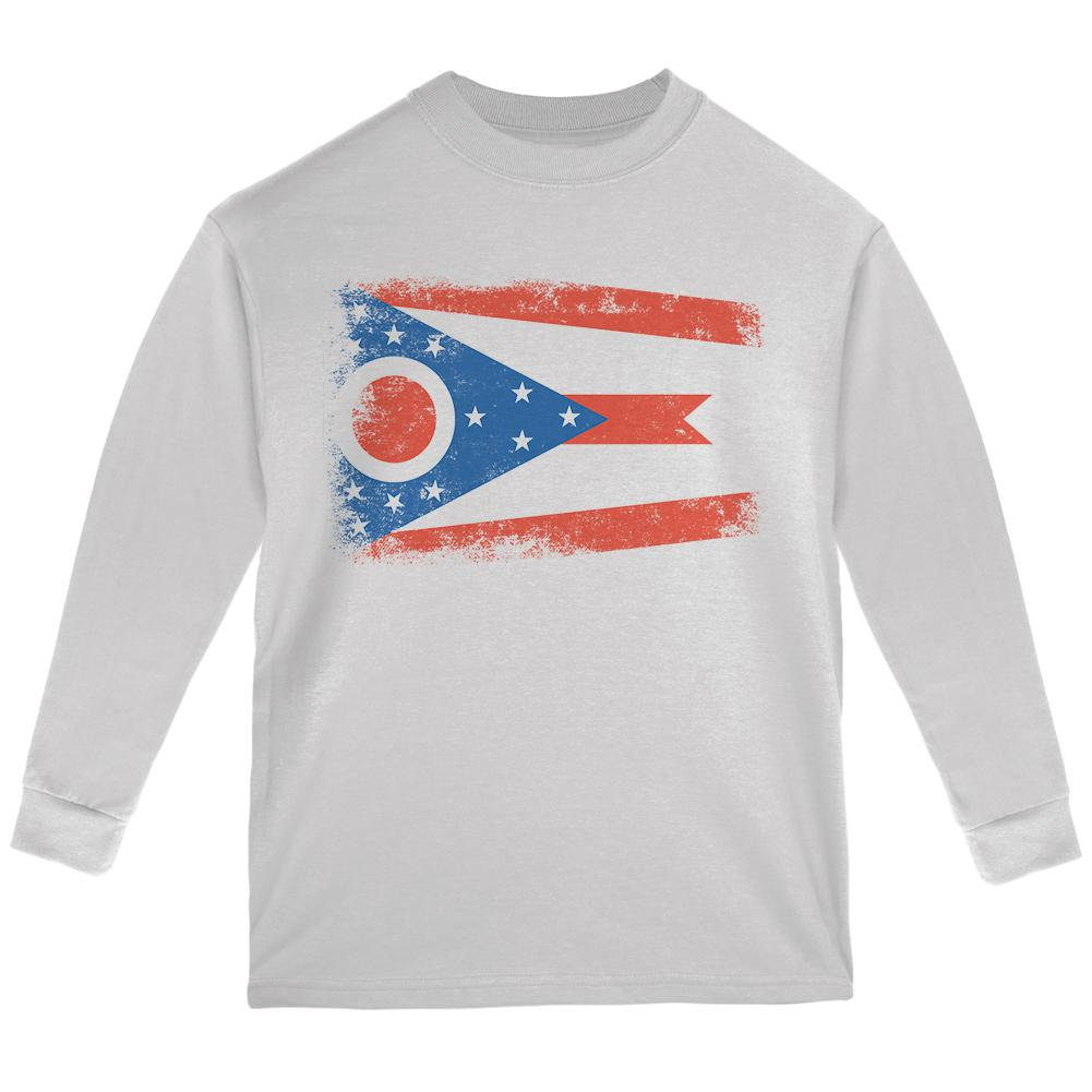 Born and Raised Ohio State Flag Youth Long Sleeve T Shirt