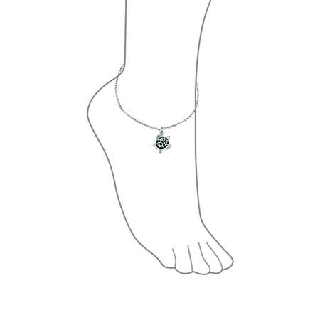 b02f29bff40 Green Turtle Enamel Nautical Dangle Charm Anklet Link Ankle Bracelet For  Women 925 Sterling Silver 9 ...