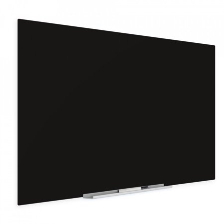 """Floating Black Glass Board 36"""" X 60"""" Inches Eased Corners"""