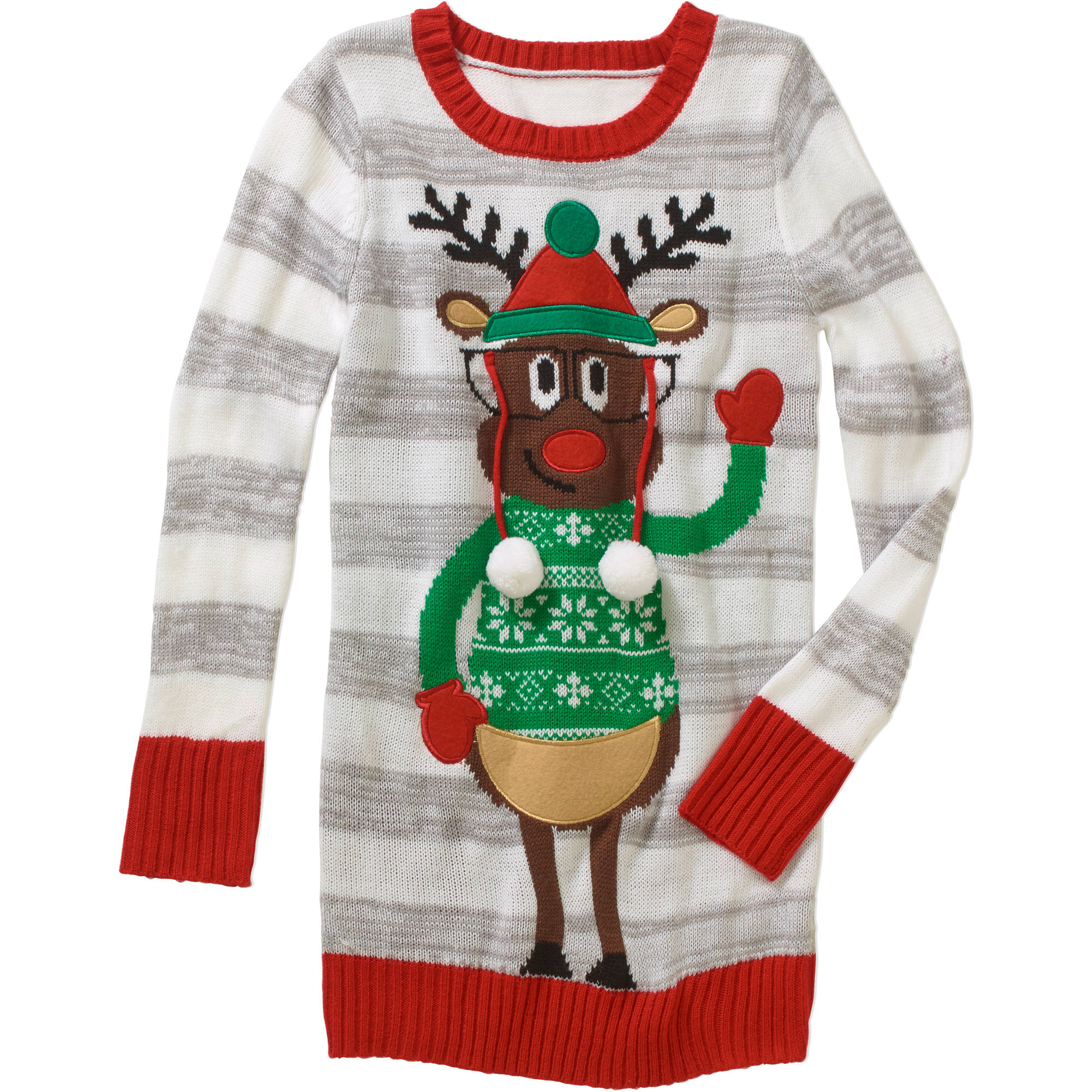 Derek Heart Girls' Reindeer Tunic Sweater with Pom-Poms