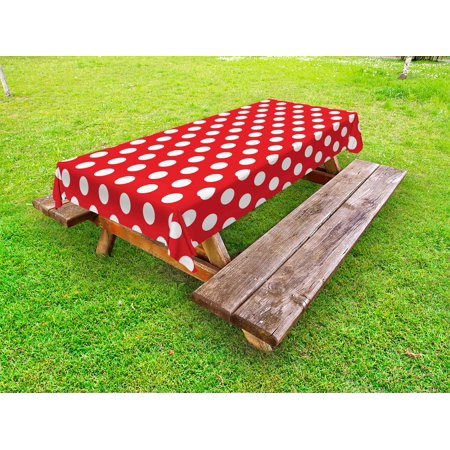 Retro Outdoor Tablecloth, 50s 60s Iconic Pop Art Style Big White Polka Dots Picnic Vintage Old Theme Image, Decorative Washable Fabric Picnic Tablecloth, 58 X 104 Inches, Vermilion White, by Ambesonne - 50s Table