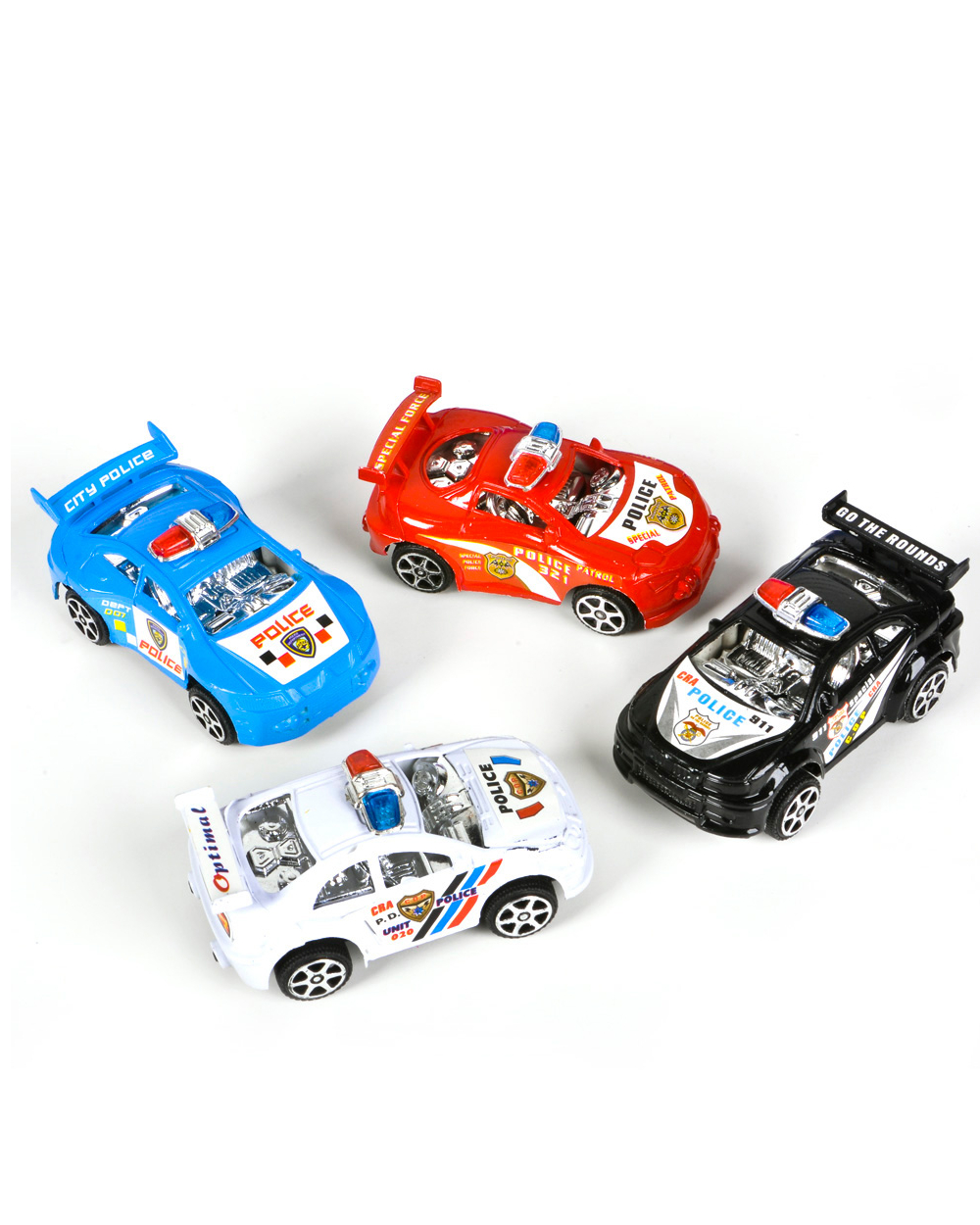 4 Assorted Color Friction Rev Em Up Pull Back Police Cop Cars Vehicle Toys by RI Novelty