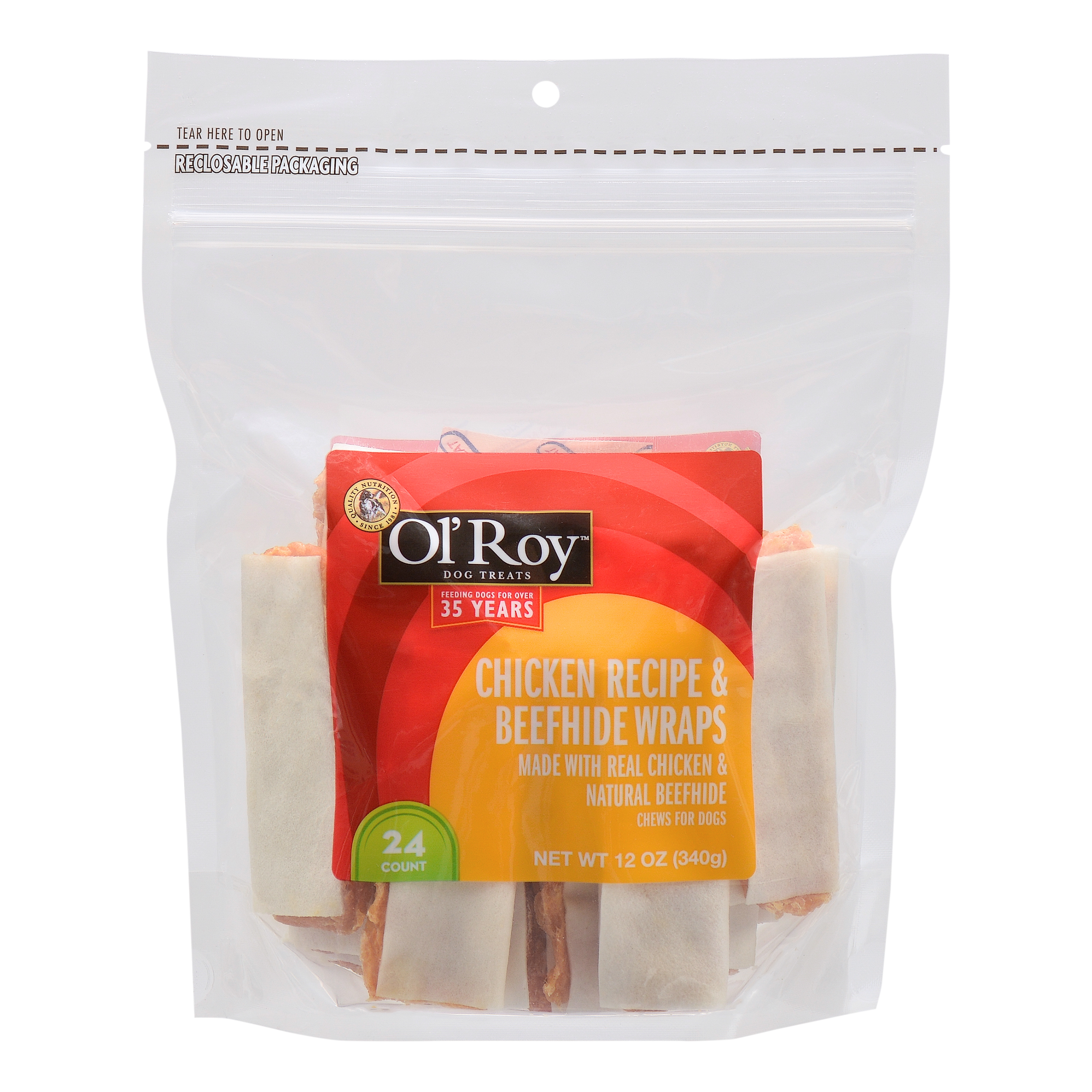 Ol' Roy Dog Treats Chicken and Beefhide Wraps, 24 Count