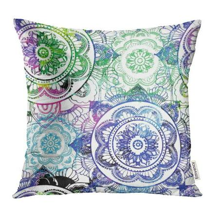 ARHOME Mandala Ethnic Drawing Yoga Meditation Manually Stylish Lots of Details Pillowcase Cushion Cases 18x18 inch ()