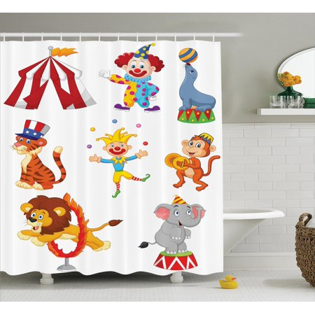 Circus Decor Shower Curtain Set, Cartoon Collection Of Cute Circus Theme Artwork Wild Animals Performer, Bathroom Accessories, 69W X 70L Inches, By - Circus Themed Accessories
