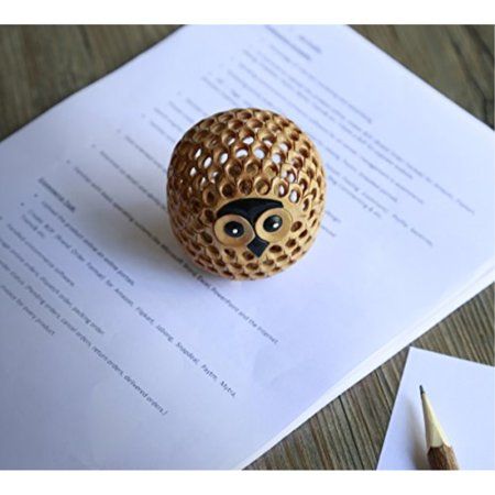 Hand Carved Cute Wooden Paper Weight Baby Owl Shaped Sculpture Figurine Home