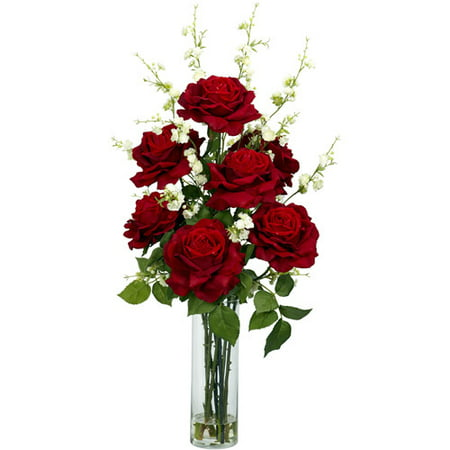 Nearly Natural Artificial Roses with Cherry Blossoms Silk Flower Arrangement ()