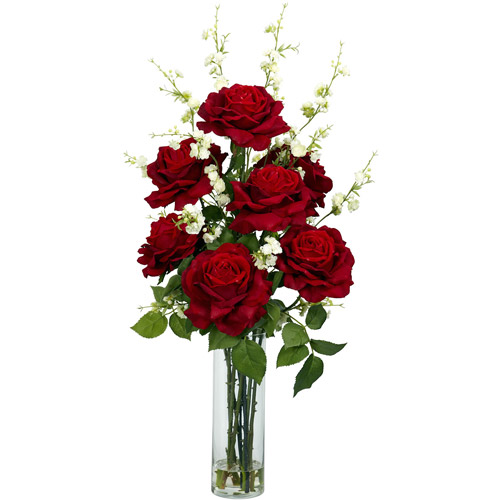 Nearly Natural Artificial Roses with Cherry Blossoms Silk Flower Arrangement