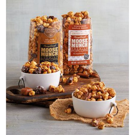 Moose Munch Premium Popcorn Tin Duo by Harry & David, Cinnamon Maple Pecan and Salted Caramel (2 Pack) - Harry And David Halloween Cookies