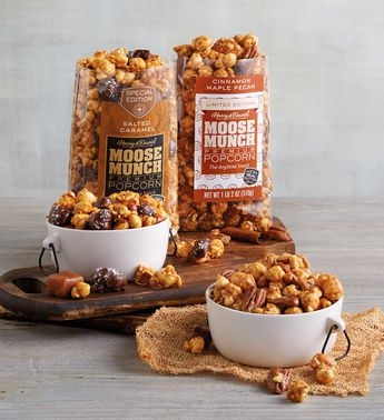 Moose Munch Premium Popcorn Tin Duo by Harry & David, Cinnamon Maple Pecan and Salted Caramel (2 Pack)