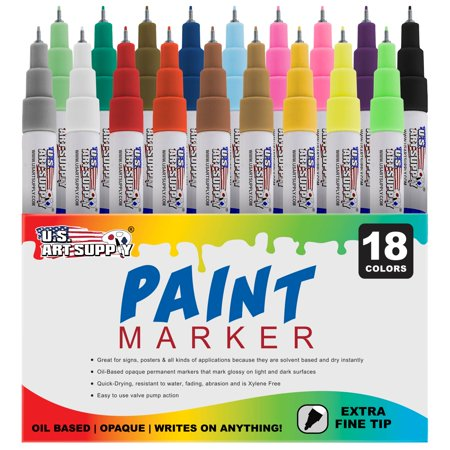 U.S. Art Supply 18 Color Set of Extra Fine Point Tip Oil Based Paint Pen