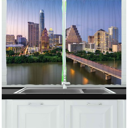 Modern Curtains 2 Panels Set, Austin Texas American City Bridge over the Lake Skyscrapers USA Downtown Picture, Window Drapes for Living Room Bedroom, 55W X 39L Inches, Multicolor, by Ambesonne - Austin City Living Halloween Party