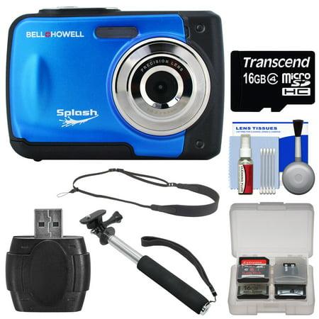 bell howell splash wp10 shock waterproof digital camera blue with 16gb card selfie stick. Black Bedroom Furniture Sets. Home Design Ideas