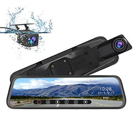 AWESAFE Mirror Dash Cam 10 Inch Touch Screen 1080P Rear View Mirror Camera Front and Rear Dual Lens Backup Camera - image 4 de 5