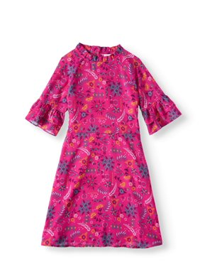 Ruffle Sleeve Mock Neck Dress (Little Girls, Big Girls and Big Girls Plus)