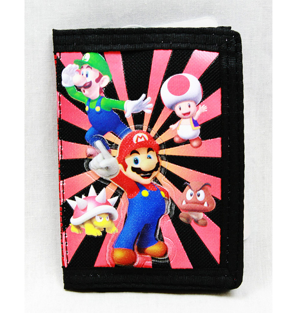 Trifold Wallet - Nintendo - Super Mario Black&Red Anime Boys New sd24780